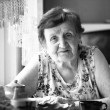 Stock Photo: Portrait old woman, black and white photo