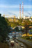 クラクフの夕方の都市を交通します。 — ストック写真