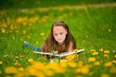 Een meisje leest een boek in de weide. — Stockfoto