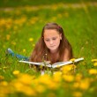 A girl (11 years old) reads a book in the meadow. — Stock Photo #31489017