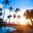 Beautiful sunset at beach resort in tropics. — Stock Photo #31489061