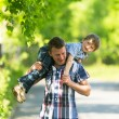 Father and son in the park. — Stockfoto
