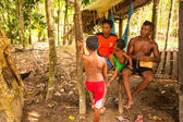 Unidentified children Orang Asli in his village — Foto Stock