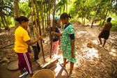 Unidentified people Orang Asli thresh rice to remove chaff — Stok fotoğraf