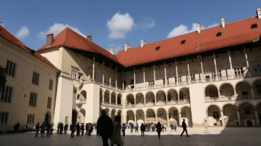 Arcades Wawel Castle, Krakow, Poland. — Stock Video
