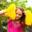 Stock Photo: Portrait lovely fun teen-girl in garden