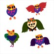 Owls, vector set. — Stock vektor
