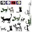 Cats vector silhouette set. — Stock Vector