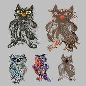 Owls - cute cartoon vector set for Halloween. — Stock Vector