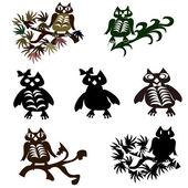Set of vector halloween black owl. — Stock Vector
