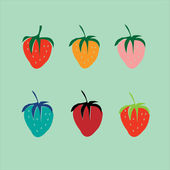 Strawberries in a pop art style. Vector. — Stock Vector