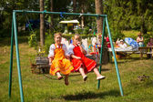 Unidentified girls during Ivan Kupala Day — Stock Photo