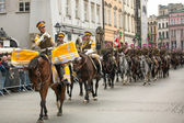Unidentified participants feast of the Polish cavalry — Stock Photo
