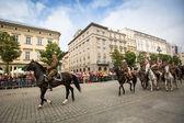 Festa de participantes não identificado da cavalaria polonesa — Foto Stock