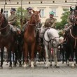 Participants feast of the Polish cavalry in Krakow, Poland. — Stock Video