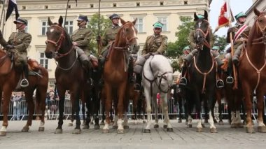 クラクフ、ポーランドのポーランド騎兵の参加者の饗宴. — ストックビデオ