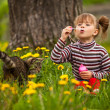 Portrait of funny lovely little girl and cat — Stockfoto #32256821