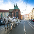 Stockfoto: One of streets in historical center in Krakow, Poland.