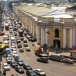 Cars stands in traffic jam on the city center — Stok fotoğraf