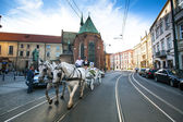 One of the streets in historical center in Krakow, Poland. — Stock Photo