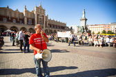 Activists Krakow Referendum in Main Square — Stock Photo