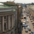 Cars stands in traffic jam on the city cente — Stok fotoğraf