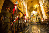 Unidentified participants feast of the Polish cavalry in the National Museum — Stock Photo