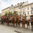 Unidentified participants feast of the Polish cavalry in the National Museum in Krakow, Poland. — Stockfoto
