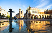 View of the Main Square, in Krakow, Poland. — Stock Photo