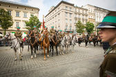 Unidentified participants feast of the Polish cavalry in the National Museum in Krakow, Poland. — Stock Photo