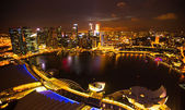 A view of city from roof Marina Bay Hotel on Singapore. — Stockfoto