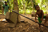 Unidentified child Orang Asli in his village in Berdut, Malaysia. — Foto Stock