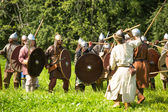 Unidentified participants during of international historical festival of medieval culture — Stock Photo