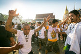 Niet-geïdentificeerde deelnemer master dag ceremonie kunnen khong khuen in nakhon chai, thailand. — Stockfoto