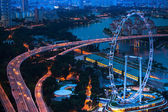 A view of city from roof Marina Bay Hotel on Singapore — Stock Photo