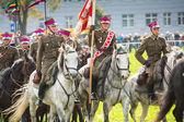 Fiesta de los participantes no identificado de la caballería polaca en el centro histórico de la ciudad — Foto de Stock