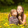 Sisters blowing dandelion — Stock Photo