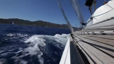 Sailboat. Luxury yacht. Sailing. Vacation. (HD) — Stock Video