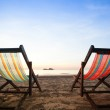 Beach chairs on sea coast. — Stockfoto