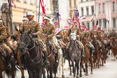 Polish cavalry in Krakow — Stock Photo