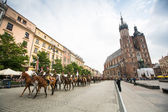Polish cavalry in Krakow — Foto Stock