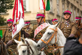 Polish cavalry in historical city — Stock Photo
