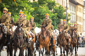 Polish cavalry in historical city — Stock fotografie