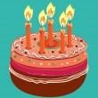 Cake with candles — Stock Vector