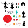 Set yoga silhouette — Stock Vector