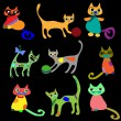 Collection vector cats — Stock Vector