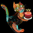Cartoon cat with cake — Stok Vektör