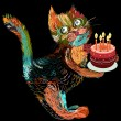 Cartoon cat with cake — Stockvectorbeeld