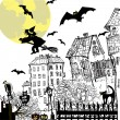 Ink sketch halloween background — Vettoriali Stock