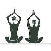 Para praktykuje jogę — Wektor stockowy